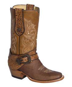 Look at this #zulilyfind! Brown & Honey Embroidered Leather Cowboy Boot #zulilyfinds