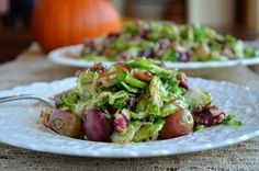 Warm Brussels Sprouts Salad with Roasted Grapes and Walnuts