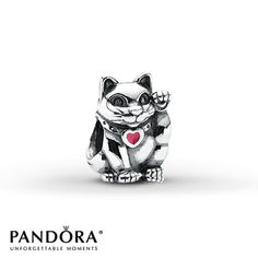 Pandora Charm Lucky Cat - waving cats are said to be very lucky in some Asian countries. Kitty kitty