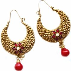 MAAYRA Golden Red Party Traditional Earrings - Online Shopping for Earrings by Maayra