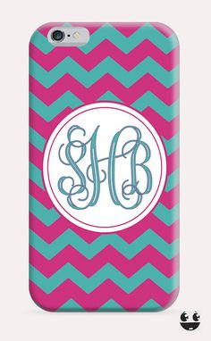 iPhone Case iPhone 4 Case & iPhone 4S, Case iphone 5 Case & iPhone 5S Case, iPhone 5C Case, iPhone 6 Case & iPhone 6, Plus Pink Chevron & Teal Monogram