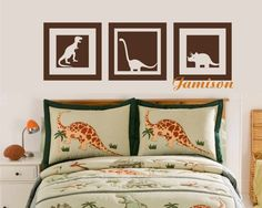 I like this idea for wall above the bed, I refuse to hang anything in a frame or heavy over their beds