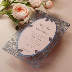 Romantic Intricate Roses Laser Cut Wedding Day Invitation with pearlised navy cover and dusky pink insert. Very romantic! Laser Cut Wedding Stationery, Wedding Day Invitations, Wedding Cards, Wedding Decor, Personalised Frames, Romantic Roses, Invitation Envelopes, Floral Motif, Card Sizes