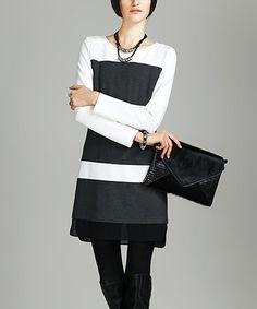 Another great find on #zulily! Gray Wide-Stripe Shift Dress - Women #zulilyfinds