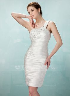 b546f6c208bf Cocktail Dresses - $112.29 - Sheath One-Shoulder Knee-Length Charmeuse Cocktail  Dress With. Ruffle BeadingHomecoming ...