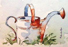 Vintage Watering Can Print of Watercolor Painting by RoseAnnHayes #watercolorarts