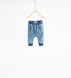 Image 1 of Denim harem pants from Zara