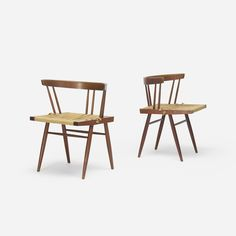Lot 120: George Nakashima. Grass-Seated chairs, pair. c. 1965, American black walnut, woven sea-grass. 24 w x 20 d x 27½ h in.