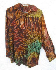 Brown Long Sleeve Shirt Tie Dye Hippie Boho Festival  Blouse Top Size XXL NWOT #Blouse