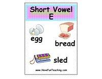Short Vowel E Puzzle Word List: Bed, Bell, Bread, Dead, Dress, Egg, Elf, Hen, Leg, Nest, Net, Pen, Red, Sled, Vest, Web.