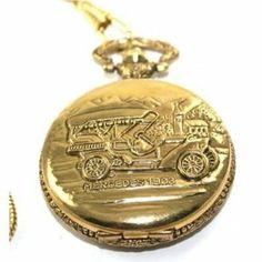 """Pocketwatch with Chain, & Gold-tone 40mm Mercedes Pocket Watch with 12"""" Curb Chain and Belt Clip Montres Carlo. $24.95"""