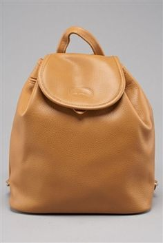 ed868d786e5e Longchamp Tan Pebbled Leather Backpack Louis Vuitton Consignment