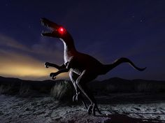 Picture of a raptor sculpture at night in Borrego Springs, California