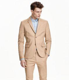 H&M Two-Button Cotton Suit - Beige