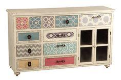 Aparador con papeles pintados Aguadel http://www.artesaniadecoracion.com/tienda/Aparador-Comoda-Colores-Aguadel.html