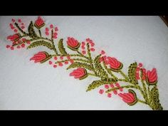 Hand embroidery designs. border line tutorial for beginners.by nakshi katha - YouTube