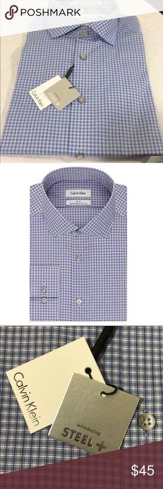 Calvin Klein Men's Check Slim Fit Dress Shirt. Calvin Klein Men's Check Slim Fit Dress Shirt. B090. 14 1/2 32/33 Slim Fit. Performance non-iron. Calvin Klein Shirts Dress Shirts