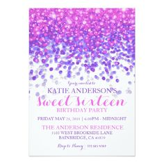 16th Birthday Party Invitations Pink Purple Hollywood Glitter Sweet Sixteen Card 16 Gifts 15