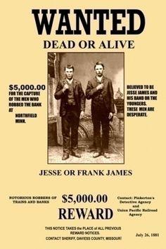Frank & Jesse James Wanted