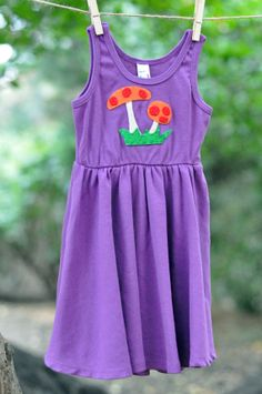 Baby Girl Purple Dress with Mushroom Applique - American Apparel 100% Organic Cotton Short Sleeve Dress - Newborn Toddler Easter