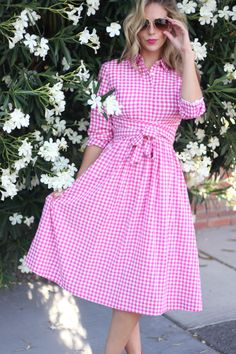 Pink Bombshell    Dainty Jewels Pink Gingham Dress + Revlon Sultry Samba Lipstick + Kate Spade Square Studs + Pink Sandals