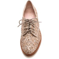 Kate Spade New York Paxton Glitter Oxfords - Pale Bronze ($195) found on Polyvore featuring shoes, oxfords, oxford flats, glitter oxford flats, kate spade shoes, bronze flats and lace up oxford flats