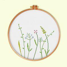 Wildflowers cross stitch pattern modern cross by ThuHaDesign                                                                                                                                                                                 More
