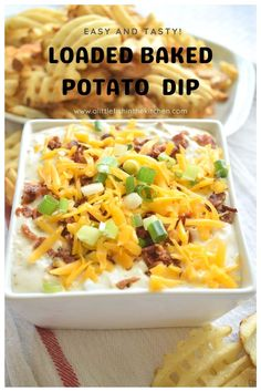 This loaded baked potato dip has all the rich flavors of a classic loaded baked potato in a dip!! Excellent when served with warm waffle fries, French fries or crispy potato chips!! This a gluten free recipe and it's also a low carb appetizer when served with an array of crisp, fresh veggies!! #easypartydip #easydiprecipes #glutenfreeappetizers #nobakeappetizers #FathersDay #FourthofJulyrecipes #gameday #gamedaydips