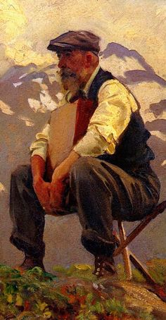 """""""Reconnoitering"""" - John Singer Sargent (Anglo-American, 1856-1925), oil on canvas, 1911 {Renaissance classical elderly male seated bearded man cropped painting detail #arthistory} Patient!!"""