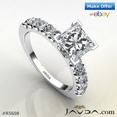 Princess Diamond Women's Engagement Heavy Ring GIA I SI1 14k White Gold 1.75 ct.