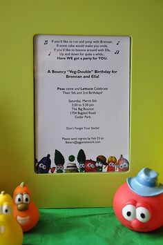 Clearly Candace's Birthday / Veggie Tales - Photo Gallery at Catch My Party First Birthday Crafts, 4th Birthday Parties, Birthday Fun, Birthday Ideas, Veggie Tales Birthday, Veggie Tales Party, Veggietales, Birthday Invitations, First Birthdays