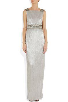 """Notte"" Embellished Lamé Gown | Marchesa"