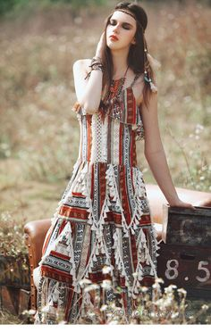 Bohemian sleeveless ruffled fringe printed maxi dress : Fashiontroy.com