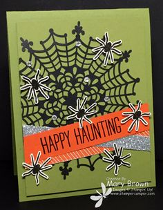 Happy Haunting by stampercamper - Cards and Paper Crafts at Splitcoaststampers Halloween Paper Crafts, Up Halloween, Homemade Halloween, Halloween Design, Halloween Cards, Halloween Pumpkins, Fall Cards, Holiday Cards, Make Your Own Card