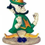 Enjoy the sight of your alma maters famed mascot Leprechaun in your garden every time you come home. Old World Craftsmanship is mixed with modern day manufacturing to create a garden statue that when displayed by your door is a true piece of yard. Notre Dame Leprechaun, Irish Leprechaun, Notre Dame Logo, Baby Bomber, Touchdown Jesus, Concrete Statues, Go Irish, Fighting Irish, Garden Statues