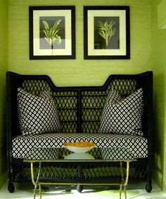 *POP* of color and I love the pattern in the fabric backed up by the weaving of the furniture piece ~ very textural