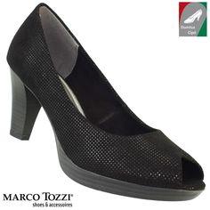 Marco Tozzi női cipő 2-29302-28 012 fekete/metál Marketing, Peeps, Peep Toe, Metal, Shoes, Fashion, Zapatos, Moda, Shoes Outlet