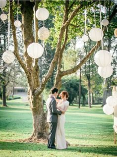 Creative White Lantern Outdoor Wedding Ceremony