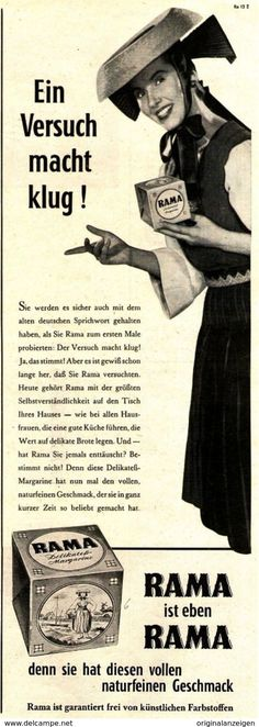 Original-Werbung/ Anzeige 1955 - RAMA MARGARINE - Ca. 115 X 310 Mm - Werbung