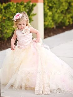 Lace and Tulle Flower Girl Dress -Formal Wear Tutu and Detachable Train--Pink Champagne--Perfect for Weddings, Pageants and Portraits Blush Flower Girl Dresses, Girls Pageant Dresses, Tulle Flower Girl, Tulle Flowers, Prom Dresses, Bride Dresses, Tulle Ball Gown, Tulle Dress, Ball Gowns