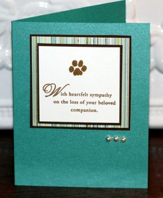 Pet sympathy card standing