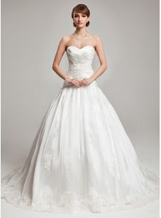 Ball-Gown Sweetheart Chapel Train Organza Satin Wedding Dress With Appliques Lace (002017560) - JJsHouse