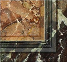 Panel of Sarrancolin of Antin faux marble with ribboned Campan marble on the sides and trompe l'oeil moulding. by Laurent Hissier