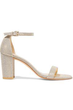 Stuart Weitzman - Nearlynude Textured-lamé Sandals - Gold - IT41.5
