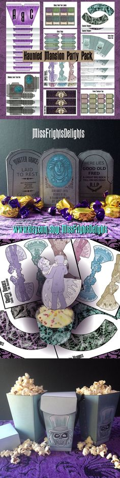 Haunted Mansion Party Pack - Instant Digital Download - Printable, sold on etsy.  For the price -- and you can print these out over and over -- this is a simple & inexpensive way to have Haunted Mansion buffet food decorations. Party on, 999 ghosts!