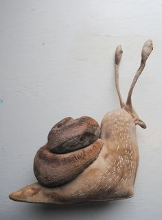 Large Snail soft sculpture Unique textile art by MisterFinch Textile Sculpture, Soft Sculpture, Fabric Dolls, Fabric Art, Fibre, Fiber Art, Mister Finch, Ann Wood, Deco Kids