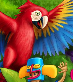 Fiesta Colombia on Behance Graffiti, Parrot, Behance, Birds, Halloween, Animals, Jaco, Canvases, Bodybuilding