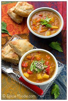 pumpkin; autumn; fall; soup; vegetable; vegan; potato; peppers; turmeric; carrot; celery leaf; Spicie Foodie; recipe