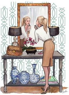 Inslee Haynes- Like the wall pattern, the black shades, the lamps, console table, floral piece, the ceramics and the vignette in general.......Like the feel.  Like her outfit too...haha..