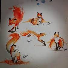 watercolor fox tattoo - Google Search